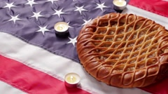 American flag, pie and candles. Stock Footage