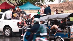 Large group of thai in pickup truck - songkran Stock Footage
