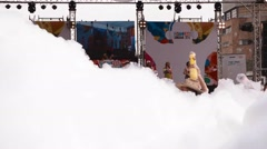 Young thai girls dance at songkran foam party Stock Footage
