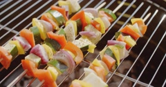 Healthy colorful kebabs with fresh vegetables Stock Footage
