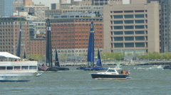 4K America's Cup NYC Racing On The Foils Stock Footage