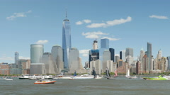 4K America's Cup New York Hudson River Stock Footage