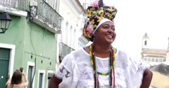 Brazilian woman wearing traditional clothes from the state of Bahia Stock Footage