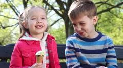 Happy children eating ice cream Stock Footage