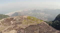 Aerial of valley from mountain top Stock Footage