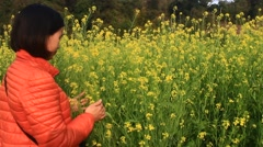 Girls inhale the fragrance of yellow flowers in a field, Asia Stock Footage