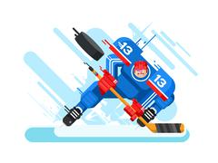 Hockey player character - stock illustration