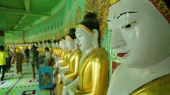 Statue of Buddha in U Min Thonze Buddhist Temple, Stock Footage