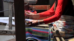 Woman weaving a fabric, Mustang, Nepal Stock Footage
