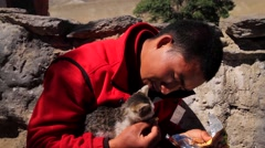 Man feeding food to a cat, Mustang, Nepal Stock Footage