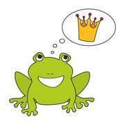 Prince or princess frog dreaming about crown - stock illustration