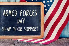 US flag and text armed forces day, show your support - stock photo