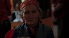 Portrait of local old woman in Burma Stock Footage