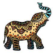 Decorated Indian Elephant Stock Illustration