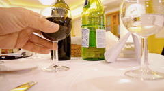 Restaurant dinner table wine picking Stock Footage