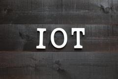 The acronym IOT Internet of things on dark background Stock Photos