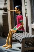 Pinocchio puppet made from wood Stock Photos