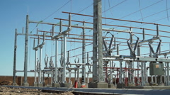 Electrical Substation Construction Wide Pan Stock Footage