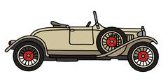 Vintage cream roadster - stock illustration