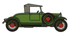 Vintage green roadster - stock illustration