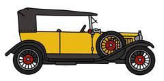 Vintage yellow convertible - stock illustration