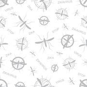 Zika virus seamless pattern. Aedes Aegypti texture background - stock illustration