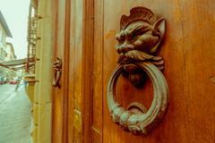 FLORENCE, ITALY - JUNE 12, 2015: An old metal door knocker on a wooden door Stock Photos