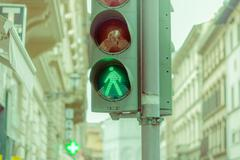 FLORENCE, ITALY - JUNE 12, 2015: Green sign that means, you can cross the street - stock photo
