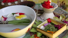 Traditional Balinese Offerings To Gods In Bali With Flowers. - stock footage