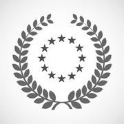 Isolated laurel wreath icon with    the EU flag stars Stock Illustration