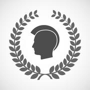 Isolated laurel wreath icon with  a male punk head silhouette - stock illustration