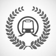 Isolated laurel wreath icon with  a subway train icon - stock illustration