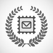 Isolated laurel wreath icon with  a mail stamp sign Stock Illustration