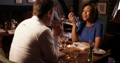 4k, Husband and wife dining together in restaurant. Slow motion. Stock Footage