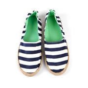 Sailor style striped woman shoes isolated on white Stock Photos