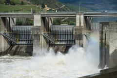 Hydroelectric dam, Douro Valley, Portugal - stock photo