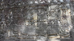 Stone carvings Angkor in Cambodia Stock Footage