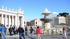 St. Peter's Square And Fountain. Vatican City. Rome, Italy - stock footage