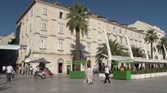 Pan across the modernised waterfront in Split, Stock Footage