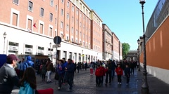 Croud of people go to St. Peter's Square. Vatican City. Rome, Italy - stock footage
