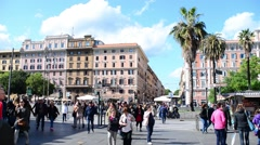 Rome, Italy. A crowd of people on the streets of the old town Stock Footage