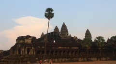 tourists visit ancient angkor architecture, Cambodian - stock footage