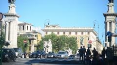 Bridge Vittorio Emanuele II. Rome, Italy - People and traffic - stock footage