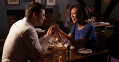 4k, Couple enjoying each other's company at a restaurant. Slow motion. Stock Footage