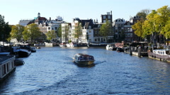 Time Lapse of Tour Boats in the Canals - Amsterdam Netherlands Stock Footage