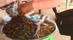 Insect markets in Cambodia Stock Footage