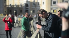 Man photographing on the Vatican city St. Peter's Square. Rome, Italy - stock footage