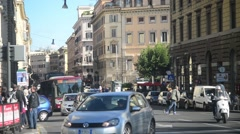 Traffic along the street of the central part of Rome Italy Stock Footage