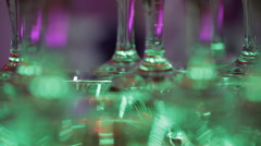 Glass goblets. Pyramid of champagne. The hill of glasses of wine and cherries. Stock Footage