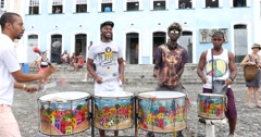 Olodum playing at Pelourinho, Salvador, Brazil Stock Footage